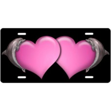 Dolphins and Pink Hearts on Black License Plate