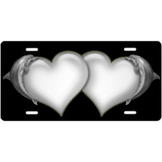 Dolphins and White Hearts on Black License Plate