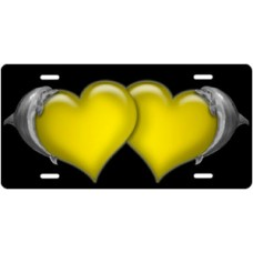 Dolphins and Yellow Hearts on Black License Plate