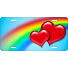 Red Hearts Rainbow License Plate