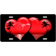 Red Palm Hearts on Black License Plate