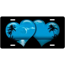 Blue Palm Hearts on Black License Plate