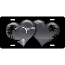 Gray Palm Hearts on Black License Plate