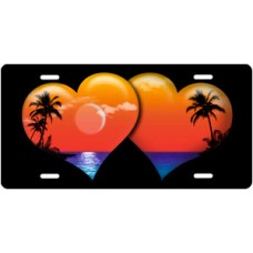 Full Color Palm Hearts on Black License Plate