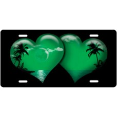 Green Palm Hearts on Black License Plate
