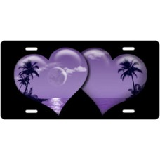 Purple Palm Hearts on Black License Plate
