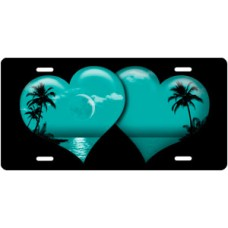 Teal Palm Hearts on Black License Plate