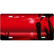 Red Beach Lovers License Plate
