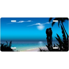 Blue Beach Lovers License Plate