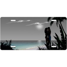 Gray Beach Lovers License Plate