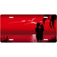Red Ocean Lovers License Plate