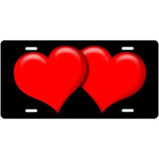 Red Hearts on Black License Plate