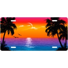 Full Color Fluffy Palms Beach Scenic License Plate
