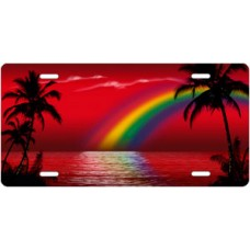 Red Rainbow Palms Beach Scenic License Plate