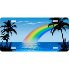 Blue Rainbow Palms Beach Scenic License Plate