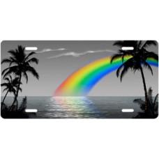 Gray Rainbow Palms Beach Scenic License Plate