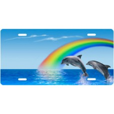 Blue Rainbow Dolphins Scenic License Plate