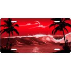 Red Wave Palms Scenic License Plate