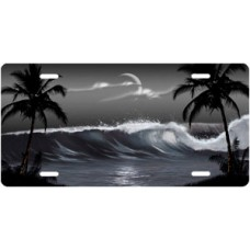 Gray Wave Palms Scenic License Plate
