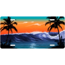 Orange and Green Wave Palms Scenic License Plate