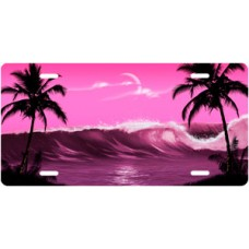 Pink Wave Palms Scenic License Plate