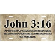 John 3:16 Scripture on Parchment License Plate
