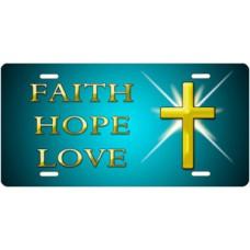 Faith Hope Love on Teal License Plate