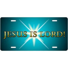 Jesus Is Lord on Teal License Plate