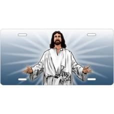 Jesus on Blue License Plate