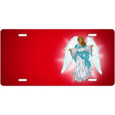 Dark Skin Angel on Red Offset License Plate