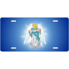 Light Skin Angel on Blue License Plate