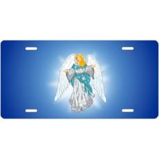 Light Skin Angel on Blue License Plate