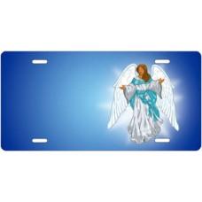 Dark Skin Angel on Blue Offset License Plate