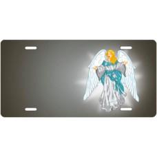 Light Skin Angel on Gray Offset License Plate