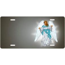 Dark Skin Angel on Gray Offset License Plate