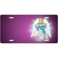 Light Skin Angel on Purple Offset License Plate