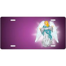 Light Skin Angel on Purple Offset License Plate