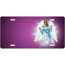 Dark Skin Angel on Purple Offset License Plate