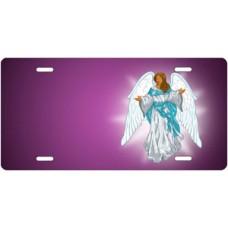 Dark Skin Angel on Purple Offset License Plate