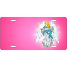 Light Skin Angel on Pink Offset License Plate