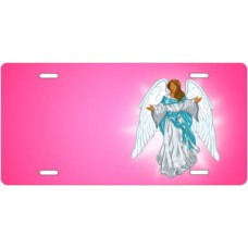 Dark Skin Angel on Pink Offset License Plate