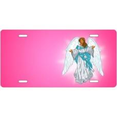 Dark Skin Angel on Pink Offset License Plate