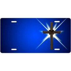 Shining Cross on Blue License Plate