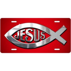 Silver Ichthus Jesus on Red License Plate