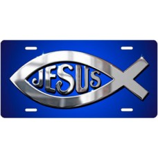 Silver Ichthus Jesus on Blue License Plate