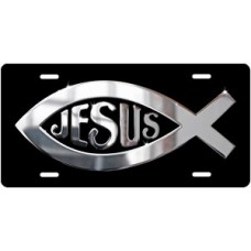 Silver Ichthus Jesus on Black License Plate