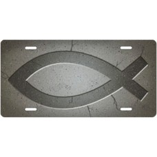 Ichthus on Gray License Plate