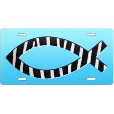 Zebra Ichthus on Blue License Plate