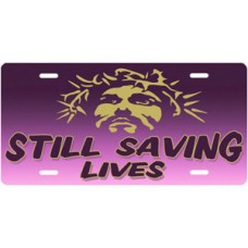 Still Saving Lives Jesus on Purple License Plate