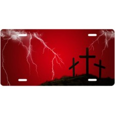 Three Crosses and Lightning on Red License Plate